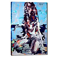 handgeschilderde olieverf mensen dame met uitgerekt frame