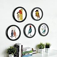Zwarte Ronde Photo Wall Frame Collection Set van 5