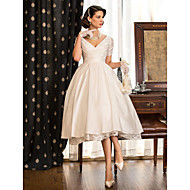 cheap -A-Line V Neck Tea Length Taffeta Made-To-Measure Wedding Dresses with Lace / Criss Cross by LAN TING BRIDE® / Little White Dress / Little White Dress