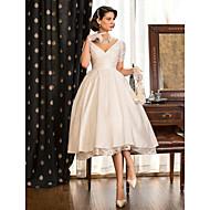 baratos -Linha A / Princesa Decote V Longuette Tafetá Vestidos de casamento feitos à medida com Renda / Cruzado de LAN TING BRIDE® / Vestidos Brancos Justos / Vestidos Brancos Justos