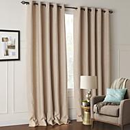 billige Mørkleggingsgardiner-To paneler Window Treatment Moderne Stue Polyester Materiale Blackout Gardiner Hjem Dekor For Vindu