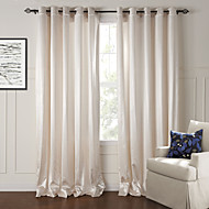 billige Gardiner-Stanglomme Propp Topp Fane Top Dobbelt Plissert To paneler Window Treatment Moderne, Mønsterpreget Stue Polyester Materiale gardiner