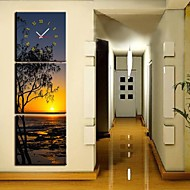 The Coast of The Setting Sun Clock i Canvas 3pcs