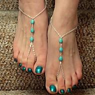 baratos -shixin® do vintage três zircões liga sandália descalço (ouro, prata, bronze) (1 pc)