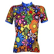 cheap -ILPALADINO Women's Short Sleeve Cycling Jersey - Rainbow Floral / Botanical Plus Size Bike Jersey Top Breathable Quick Dry Ultraviolet Resistant Sports 100% Polyester Mountain Bike MTB Road Bike