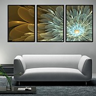 cheap Framed Arts-Canvas Set Floral/Botanical Modern Traditional,Three Panels Horizontal Print Wall Decor For Home Decoration