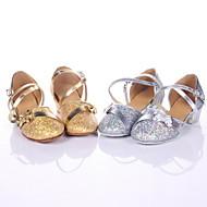 baratos Sapatilhas de Dança-Mulheres Sapatos de Dança Moderna / Dança de Salão Courino Salto Salto Robusto Não Personalizável Sapatos de Dança Prata / Prateado / Dourado