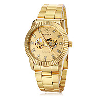 Men's Auto-Mechanical Luxury Gold Skeleton Steel Band Wrist Watch Cool Watch Unique Watch Fashion Watch