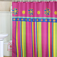 Vivid Colorful Floral And Stripe Shower Curtain
