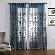 billige Forede Gardiner-Stanglomme Propp Topp Fane Top Dobbelt Plissert To paneler Window Treatment Neoklassisk, Broderi Soverom Polyester Materiale Gardiner