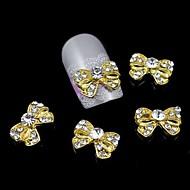 저렴한 -10PCS 금 bowknot 모조 다이아몬드 합금 손톱 액세서리 네일 아트 장식