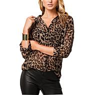 mode lang ærme leopard v hals shirt