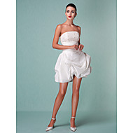 cheap Little White Dresses-Ball Gown Strapless Short / Mini Taffeta Custom Wedding Dresses with Beading Appliques Pick Up Skirt Ruched by LAN TING BRIDE®
