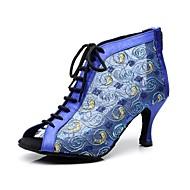 """billige Moderne sko-Dame Moderne Ballett Blonder Støvler Snøring Stiletthæl Svart Blå 2 """"- 2 3/4"""" Kan spesialtilpasses"""
