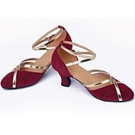 baratos Sapatilhas de Dança-Mulheres Sapatos de Dança Moderna Camurça Sandália Salto Robusto Não Personalizável Sapatos de Dança Marrom / Púrpura / Azul Claro