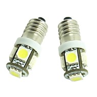 2pcs E10 Automatisch Lampen 1.2W SMD 5050 70-90lm 5 LED Interior Lights For Universeel