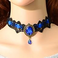 Mulheres Gargantilhas Colarinho Colares Declaração Sapphire sintético Jóias Pedras preciosas sintéticas Cristal Renda Tatuagem Europeu