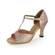 billige Skosalg-Dame Latin Glimtende Glitter Sandaler Stiletthæl Gull 7 cm Kan ikke spesialtilpasses
