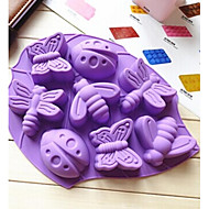 8 Holes Insect Shape Silicone Material Large Size Cake Mold,Baking Tool