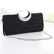 hesapli Özellikli Fırsatlar-Kadın's Çantalar İpek Gece Çantası Kristaller / Yapay Elmaslar için Davet / Parti Beyaz / Siyah / Fuşya