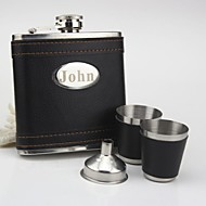 cheap Personalized Drinkware-Personalized Stainless Steel  Black  Flask 6-ozGift Set