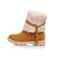 baratos Sapatos Femininos-Mulheres Sapatos Pêlo / Camursa Sintética Primavera / Outono / Inverno Salto Robusto 15.24-20.32 cm / Botas Cano Médio Tira Trançada Marrom / Bege / Laranja