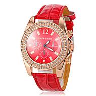 Dame Armbåndsur Imiteret Diamant Læder Bånd Glitrende / Afslappet / Simuleret Diamond Watch Rød