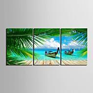 E-HOME® Summer Coastl Clock in Canvas 3pcs