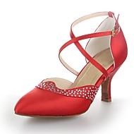 baratos Sapatilhas de Dança-Mulheres Sapatos de Dança Moderna Cetim Salto Cristais / Presilha Salto Cubano Não Personalizável Sapatos de Dança Vermelho / Prateado /