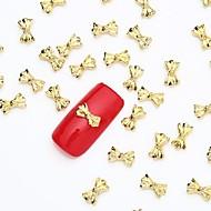50PCS 3D Gold Nail Art Jewelry Alloy Slice Golden Stud Shining Bow Tie Rivet for Nail Design