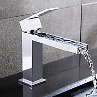 Σύγχρονο Αναμεικτικές με ενιαίες βαλβίδες Καταρράκτης Κεραμική Βαλβίδα Μία Οπή Ενιαία Χειριστείτε μια τρύπα Χρώμιο, Μπάνιο βρύση νεροχύτη
