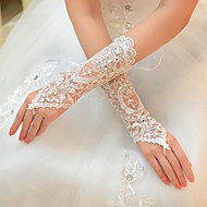cheap Wedding Gloves-Tulle Elbow Length Glove Bridal Gloves With Rhinestone