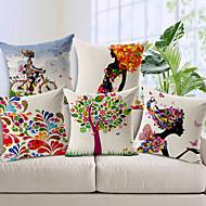cheap Cushion Sets-Set of 5 Cotton Linen Decorative Cushions Flower Fairy Bike Butterfly Throw Pillows