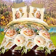 preiswerte Streu-Bettbezug-Sets 3D 4 Stück Polyester Reaktivdruck Polyester 4-teilig (1 Bettbezug, 1 Bettlaken, 2 Kissenbezüge)