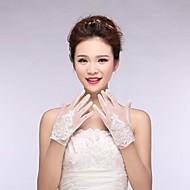 Dame Brudehandsker Håndledslængde Perle Hvid Krystal