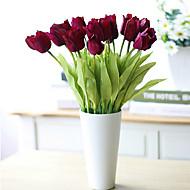 tanie -3 szt. Pu tulipan sztuczne kwiaty do dekoracji ślubnych
