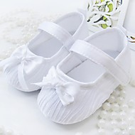 cheap Baby Shoes-Baby Girls' Shoes Fabric Spring Fall Flats Bowknot for Casual Outdoor Dress White Pink