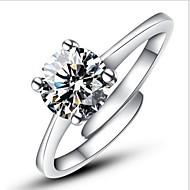 Dame Statement Ring Forlovelsesring - Sølv, Simuleret diamant Kærlighed Damer, Klassisk, Mode, Åben Smykker Sølv Til Bryllup Fest Forlovelse Gave Daglig Afslappet Justerbar