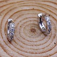 Dame Kvadratisk Zirconium Store øreringe - Sølv, Simuleret diamant minimalistisk stil, Mode Sølv Til Fest Daglig Afslappet