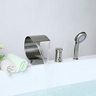 お買い得  ブラッシュドニッケル Series-浴槽用水栓 - コンテンポラリー ブラッシュドニッケル バスタブとシャワー セラミックバルブ / 真鍮 / シングルハンドル三穴