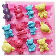 animal urso coelho bolo fondant de chocolate em forma de silicone bolo molde decoração ferramentas, l11.4cm * * w10.6cm h1.4cm