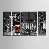 billige Veggklokker-e-home® natten utsikt over byen klokken i canvas 5pcs