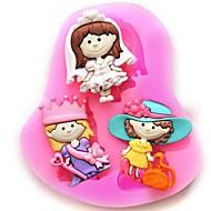أميرة فتاة على شكل كعكة فندان قالب الشوكولاته سيليكون، أدوات زينة كب كيك، l7.5cm * * w6.6cm h1cm