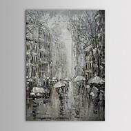 ストリート手にストレッチフレームと塗装キャンバスをrainning iarts油絵現代の風景黒と白のペア