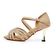 Dame Latin Velourisert Glimtende Glitter Sandaler Glimtende Glitter Stiletthæl Gull Lyseblå 7,5 cm Kan ikke spesialtilpasses
