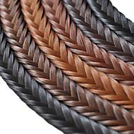 billige -håndlaget fishbone flette syntetisk hår flette bangs klippet i hår stykker med mange farger