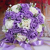 꽃을 들고 30 PE 시뮬레이션 장미 결혼식 꽃다발 결혼식 신부의 부케, 보라색과 흰색