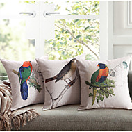 linned bomuld trykning lovebird pude