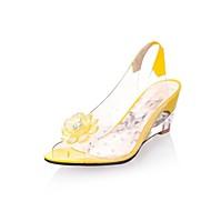 baratos Sapatos Femininos-Mulheres Sapatos Courino Primavera / Verão Chanel Heel translúcido / Salto Plataforma Gliter com Brilho Azul / Bege / Amarelo