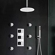 tanie Baterie prysznicowe-Współczesny Przytwierdzony do ściany Termostatyczny Zawór mosiężny Trzy uchwyty trzy otwory Chrom, Bateria Prysznicowa